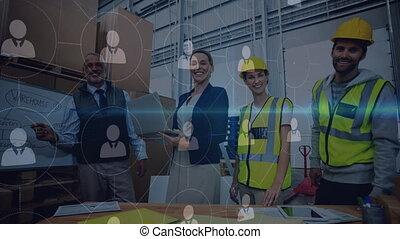 fonctionnement, composition, connecte, combiné, gens, entrepôt, animation