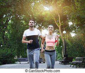 fonctionnement, couple, parc, jogging, dehors, dehors