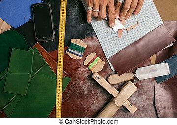 fonctionnement, cuir, haut, textile, atelier, fin, cordonnier, marteau
