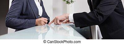 fonctionnement, dans, bureau, réception