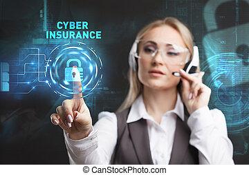 fonctionnement, display., femme affaires, lunettes, jeune, virtuel, cyber, assurance, sélectionner, icône