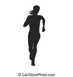 fonctionnement distance, femme, silhouette, long