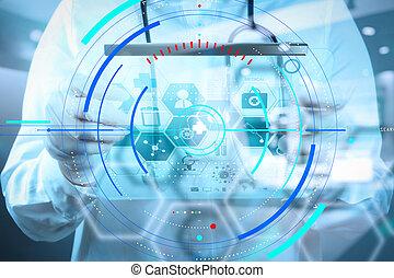 fonctionnement, docteur, moderne, médecine, informatique, interface