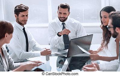 fonctionnement, equipe affaires, idées, discute, réunion, nouveau