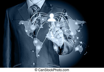 fonctionnement, exposition, moderne, informatique, nouveau, homme affaires