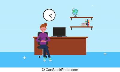 fonctionnement, femme affaires, bureau, jeune