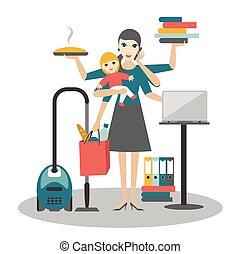 fonctionnement, femme affaires, coocking, mère, bébé, woman., multitask, calling.