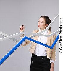 fonctionnement, femme affaires, gris, croissance, fond, graphique