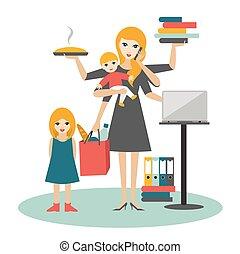 fonctionnement, femme affaires, plus vieux, multitask, coocking, mère, woman., enfant, bébé, calling.