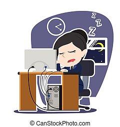fonctionnement, femme affaires, quoique, endormi, asiatique, automne