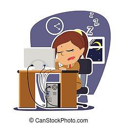 fonctionnement, femme affaires, quoique, indien, endormi, automne