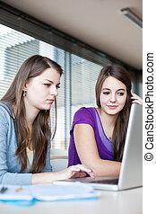 fonctionnement, femme, informatique, deux, étudiants, ordinateur portable, collège