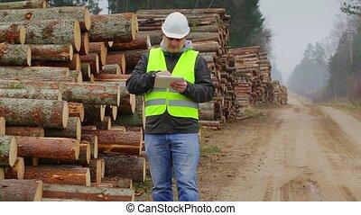 fonctionnement, forêt, tablette, officier