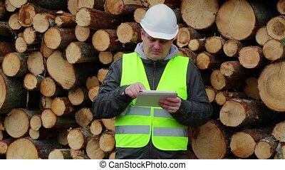 fonctionnement, forêt, tablette, officiers