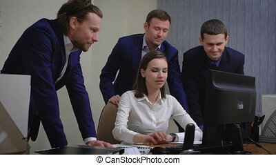 fonctionnement, groupe, bureau affaires, gens, intérieur, jeune, avoir, réunion
