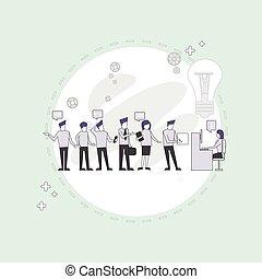 fonctionnement, groupe, bureau affaires, séance, bureau, gens, businesspeople, créatif, équipe