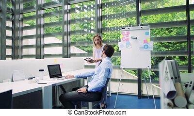 fonctionnement, groupe, bureau, professionnels, jeune, ensemble, parler.