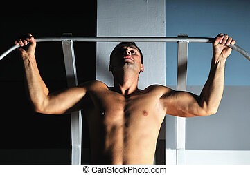 fonctionnement, gymnase, jeune, bras, homme, fort, dehors