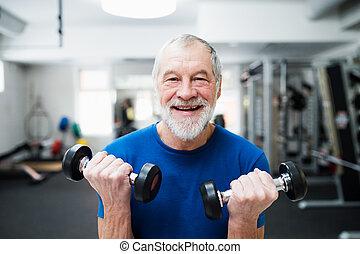 fonctionnement, gymnase, personne âgée homme, dehors, weights.