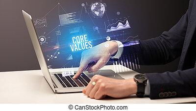 fonctionnement, homme affaires, concept, ordinateur portable, business