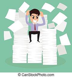 fonctionnement, homme affaires, papier, time., sérieusement, because, beaucoup