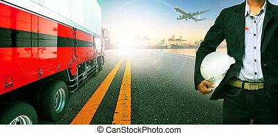 fonctionnement, homme, transport, dans, importation, bateau, port, port, et, fret, avion cargaison, voler, au-dessus