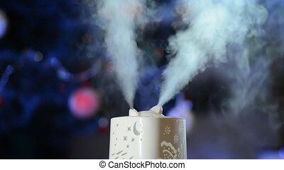 fonctionnement, house., humidificateur, humidification., vapor., ultrasonique, fond, blused