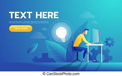 fonctionnement, illustration., bureau, cadre, idea., vecteur, homme affaires, homme