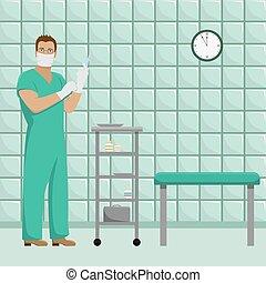 fonctionnement, illustration., formulaire, docteur, room., monde médical, masque, vecteur, gants, traitement, stérile, homme