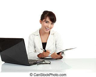 fonctionnement, image, jeune, employeur, regarder, quoique, appareil photo