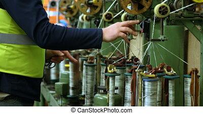 fonctionnement, industrie, 4k, corde, confection, ouvrier