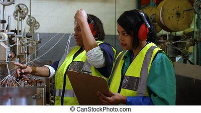 fonctionnement, industrie, ouvriers, corde, confection, 4k
