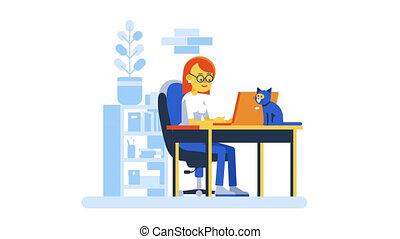 fonctionnement, intérieur, ordinateur portable, maison, lunettes, femme