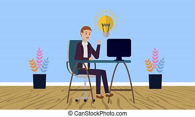 fonctionnement, jeune, bureau, homme affaires