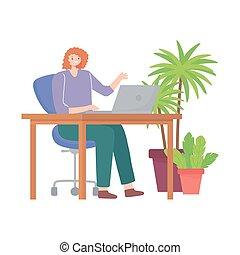 fonctionnement, jeune, espace, bureau, femme, bureau, ordinateur portable