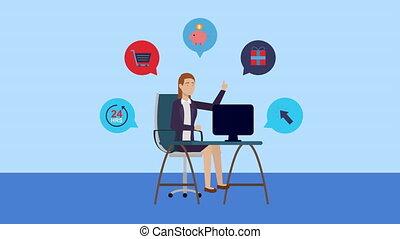 fonctionnement, jeune, femme affaires, bureau