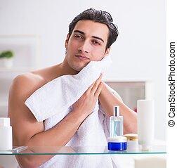 fonctionnement, jeune, salle bains, jour, recevoir a préparé, homme