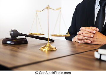 fonctionnement, justice, arrière-plan., avocat, bureau, marteau, bois, soundblock, droit & loi