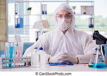 fonctionnement, laboratoire, chimiste