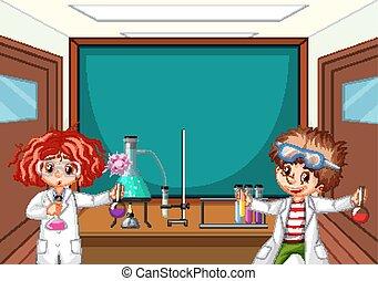 fonctionnement, laboratoire, deux, école, science, étudiants