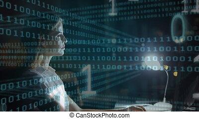 fonctionnement, lampe, elle, femmes, fond foncé, informatique, foregro, code, contre, binaire