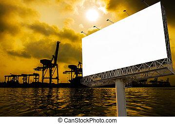 fonctionnement, levers de soleil, bateau, pont, récipient, panneau affichage, fret, grue, chantier naval, cargaison