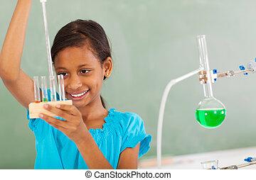 fonctionnement, liquide, étudiant, élémentaire, classe chimie