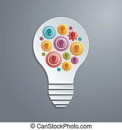 fonctionnement, lumière, vecteur, ensemble., ampoule, engrenages