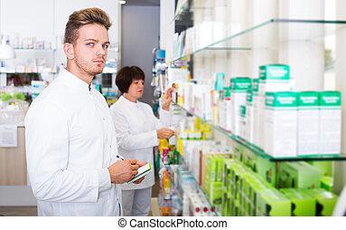 fonctionnement, magasin, chimiste, pharmaceutist