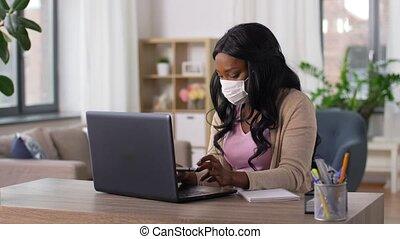 fonctionnement, maison, femme, bureau, masque, ordinateur ...