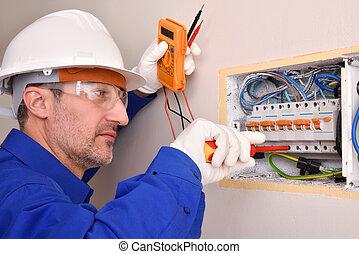 fonctionnement, maison, logement, électrique, installateur, panneau