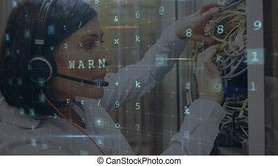 fonctionnement, messages, données, serveur, en mouvement, sécurité, salle, femme