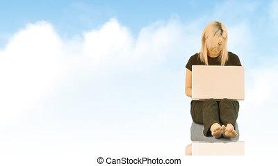 fonctionnement, ordinateur portable, femme