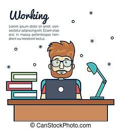 fonctionnement, ordinateur portable, lampe, bureau, dessin animé, homme